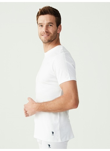 U.S. Polo Assn. Erkek 2 Li Yuvarlak Yaka Atlet Beyaz